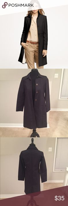 Lady's Day Coat This beautiful black lady's day coat is perfect for nippy spring mornings or cool evenings in early fall.  It is the perfect addition to a working woman's wardrobe, and it does double duty for a casual but pulled together look on weekends.  This beautiful coat has been lovingly worn but is still in great condition.  (The coat's silhouette is similar to the J. Crew Lady Day Coat, but this is a thinner lightweight version -- almost like a trench -- made by Ann Taylor.) Ann…