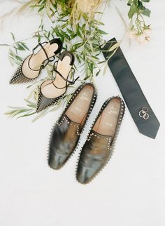 Black studded shoes that are killing it! Photography: Sylvie Gil Photography - www.sylviegilphotography.com/ Read More on SMP: http://www.stylemepretty.com/2017/05/17/the-bride-wore-a-chic-black-dress-for-her-san-francisco-elopement/