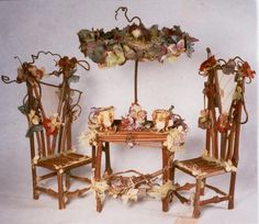 handmade fairy furniture I used to make things similar to this when I had my flower shop. (Not this fabulous,though).:)