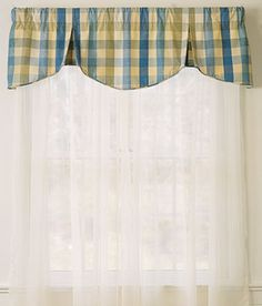 Window Toppers Moire Plaid Scalloped Pleated Valance - Country Curtains®
