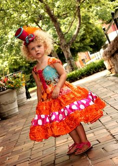 Girls Party Pageant Dress with Orange Ribbon by rosieposiegifts, $105.00