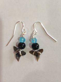 Shark Tooth Earrings - Blue Earrings - Dangle Earrings - Homemade Earrings - Handmade - Jewelry - Gift - Shark Tooth - Fossil USD) by DayDreamingDecor Earrings Handmade, Handmade Jewelry, Unique Jewelry, Blue Earrings, Dangle Earrings, Shark Tooth Necklace, Fossil, Teeth, Glass Beads