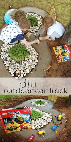 [AD] Playing with our new LEGO Juniors Thunder Hollow Crazy 8 Race Building Kit on our new diy outdoor car track that we built together! Read the post for the full tutorial! #UltimatePitStop @amazon @Disney