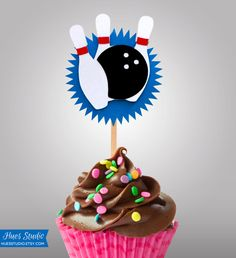 BOWLING Party Treat Picks / Cupcake Toppers Pick by HuesStudio
