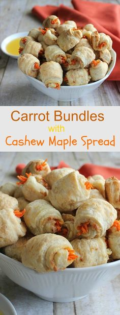 Carrot Bundles with Cashew Maple Spread has a rich and creamy layer inside. Tiny little strips of carrots finish off this puff pastry treat.
