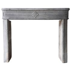 19th Century Antique Fireplace of Grey Marble Stone | 1stdibs.com