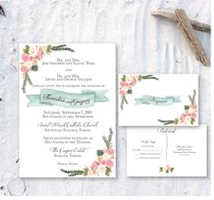 Printable Floral Invitation by ChirpPaperie on Etsy