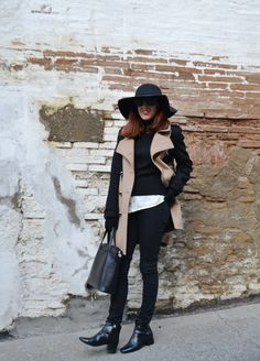 Total look pitillos negro y abrigo combinado ~ Mi Vida en Rojo