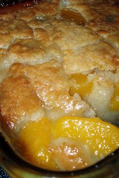 Peach Cobbler -2c. fresh sliced peaches -1c. Bisquick mix -1c. milk -1/2t nutmeg -1/2t cinnamon -1/2c. butter, melted -1c. sugar. In an 8x8 baking dish, stir Bisquick, milk, nutmeg  cinnamon together. Stir in melted butter. In a medium mixing bowl, stir sugar  peaches. Spoon over the cobbler crust. Bake for 1hr. at 375 degrees or until crust is golden brown.