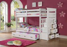 ALLENTOWN WHITE STORAGE LADDER TWIN/TWIN TRUNDLE BUNK BED