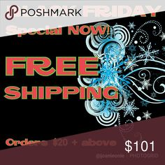 Holiday Spirit Free shipping on orders totaling $20 or more. Just bundle 1 or more items & I'll send you an offer where I'll pay for your shipping.  Applies to standard packages 5 lb & under, of course. Other