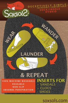 SoxsolS machine washable inserts for sandals stick to you sandal through the day. At the end of the day peel them out and launder for another day...just like socks!