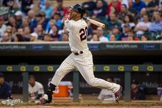 5-6-2015:Twins:Eddie Rosario did this with his first Major League pitch.