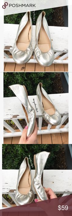J.Crew Metallic Silver Cece Flats With a cushioned insole for maximum comfort, a rubber sole for maximum flexibility and an elasticized detail so they hug your feet, they're as comfortable as they are good looking. - size 7.5 - metallic leather upper - excellent preloved condition, minimal signs of exterior wear such as small scratches to the exterior and a small mark on the back (shown) - retailed for $135 -  📷 Colors may vary slightly from photos  💰Bundle for the best deal  ❌No trades…