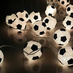 20 x white soccer ball football made from cotton ball string light kid teen bedroom decor hanging lantern party theme window light Football Rooms, Football Bedroom, Boys Soccer Bedroom, Football Fans, Soccer Room Decor, Soccer Theme, Soccer Party, Bedroom Themes, Kids Bedroom