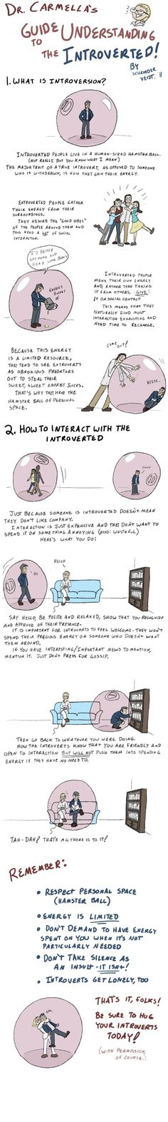 """""""How to Interact with an Introvert."""" Being a fellow introvert, this is completely true. Educate yourselves."""
