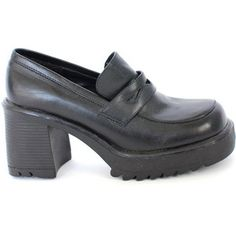 da0d86ced7fa Vintage 90s Chunky Platform Shoes - Patent Punk Black Leather Buckle ...