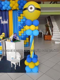 DECORAÇÃO PROVENÇAL TEMA MINIONS                                  TORRE ... King Birthday, Birthday Diy, 2nd Birthday Parties, Baby First Birthday, Minions Birthday Theme, Minion Theme, Birthday Balloons, Minion Party Decorations, Balloon Decorations
