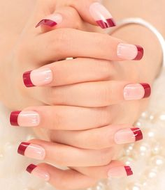 French Nails Tips Natural Simple Design Short Full Cover faux ongles with … – Long Nails – Long Nail Art Designs French Manicure Acrylic Nails, French Tip Nails, Manicure And Pedicure, French Manicure With A Twist, Cute Nails, Pretty Nails, Wedding Nails Design, Red Nails, Nail Tips