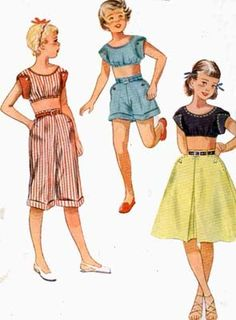 Vintage 1950s Girls Fitted Midriff Top Pedal Pushers, Shorts and Shirt Sewing pattern Simplicity 3293 50s Rockablly Style Size 7 by sandritocat on Etsy