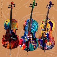 Handpainted Cellos - Try Handmade Gallery - How AWESOME ARE THESE????
