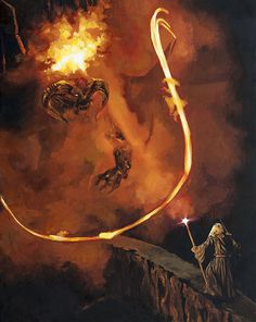 Lord of the Rings Gandalf Art Print - You Shall Not Pass Balrog Fellowship of The Ring Mines of Moria Bridge of Khazad Dum Oil Painting hashtags Legolas, Beau Film, Mines Of Moria, You Shall Not Pass, Fellowship Of The Ring, The Lord Of The Rings, J. R. R. Tolkien, Rings Film, Middle Earth