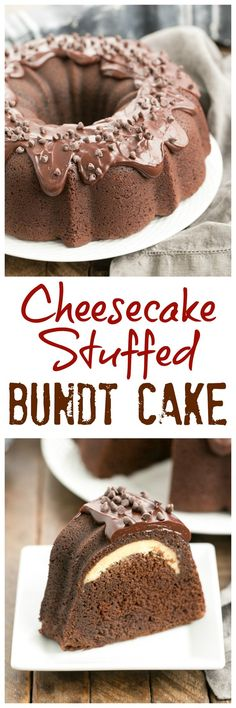 Cheesecake Stuffed Chocolate Bundt Cake | A rich chocolate cake with a dreamy surprise in the middle! @lizzydo