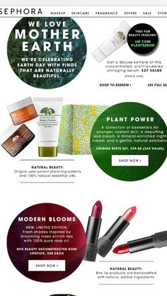 sephora earth day email Email Campaign, Pretty Designs, Anti Aging Serum, Email Design, Beauty Inside, Earth Day, Fragrance, Sales, Skin Care