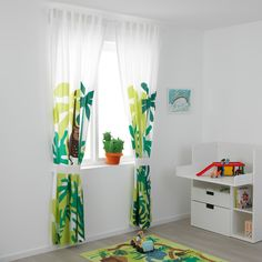 Childrens Bedroom Curtains Ikea IKEA has acceptable consistently been your go-to abode for fast appliance and simple architecture solutions. But now, IKEA is about to be the abode you go to Ikea Curtain Rods, Ikea Curtains, Green Curtains, Kids Room Curtains, Bedroom Curtains, Curtain Sets, Curtains Without Sewing, Childrens Curtains, Jungle Bedroom