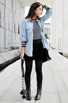 Look inverno com saia e meia preta. Camisa jeans. Lindo  3 Siga no fe14f12efb4a1