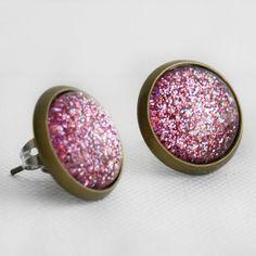 Pink Glitter Post Earrings in Antique by EnchantdLookingGlass, $11.20