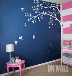 Wall decal - Large Tree Wall decal - living room wall decals Wall Sticker - wall decor - Tree wall decal with cute birds Wall Painting Living Room, Wall Painting Decor, Tree Wall Decor, Room Decor, Nursery Wall Stickers, Wall Decor Stickers, Tree Decal Nursery, Tree Wallpaper Bedroom, Simple Wall Paintings