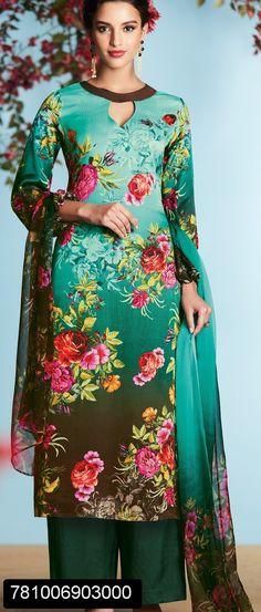 Unstitched floral digital printed salwar suit for women with chiffon digital printed dupatta