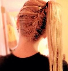French braid into a high long blonde ponytail by chase malone.