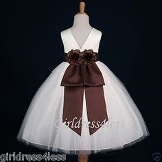 brown bridesmaid dresses | IVORY/BROWN CHOCOLATE PAGEANT PARTY WEDDING FLOWER GIRL DRESS 12M 2 4 ...
