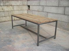 wood & steel table by jan van ijken, oudebouwmaterialen.nl