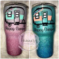 Love the colors on these! Love the colors on these! Vinyl Tumblers, Custom Tumblers, Thermos, Tumblr Cup, Glitter Cups, Glitter Tumblers, Camping Cups, Cute Cups, Tumbler Designs