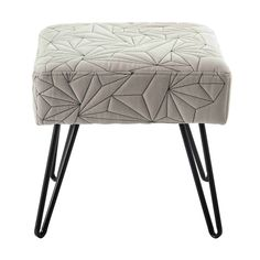 DARRYL metal and grey cotton stool