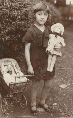 1930s KID GIRL TOY ANTIQUE DOLL - vintage old photo | I spent many happy hours pushing my Betsy in her doll carriage back in the 60's. What a simple life back then. No computers, always playing outdoors, in all seasons.