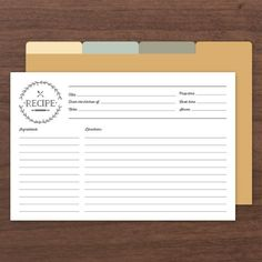 Printable & Editable Recipe Cards (comes with front and back along with dividers)