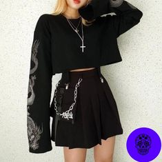 Y Demo Gothic Dragon Embroidery Women's T-shirt Long Sleeve Punk Sweatshirt Loose Short Sexy Girl Crush T-shirts You are in the right place about Gothic Style clothing Here we offer you the most beaut Egirl Fashion, Grunge Fashion, Korean Fashion, Fashion Outfits, Fashion Brands, Fashion Accessories, Mode Outfits, Grunge Outfits, Cute Casual Outfits