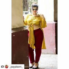 Fabulous yellow!  #Repost @_payalsoni_ (@get_repost)  So this is the Second look where I am pairing @amydus trouser and Kurta. Boring? Not anymore. In this look I have given a twist which is Fun and Current.  I always love to try new things which are out of my comfort zone!  Pairing it with pom pom earrings and block heels. And I am ready to go... You guys do let me know how will you wear it and make it more Fabulous!  Stay Positive.  Outfit : @amydus Earrings : Andheri Lokandwala  Shoes…
