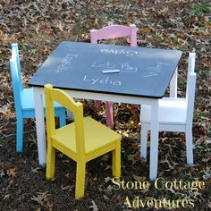super Ideas for diy kids table makeover playrooms Paint Kids Table, Kids Table And Chairs, Kid Table, Kids Table Redo, Dining Table, Boys Room Design, Playroom Design, Chalkboard Table, Chalkboard Paint