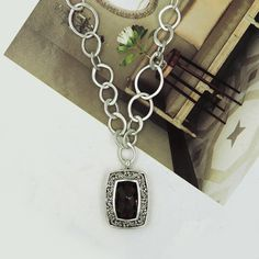 """LOIS HILL SMOKEY QUARTZ STERLING SILVER TOGGLE NECKLACE ADJUSTABLE 18.5"""""""