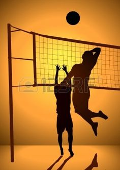 Silhouette illustration of people playing volley ball
