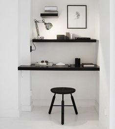 White Niche Dark Shelving Work Space, Remodelista