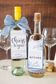 Wine Gifts - Adorable free printable wine gift tags, just print and cut! A great gift for all of your fabulous bridesmaids!