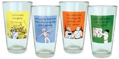 """Someecards """"Party"""" Pints - set of 4 by 30 Watt. $25.00. - Let's get totally out of control tonight.. Someecards party themed pints included in set:. - Let's party like rock stars who only play video games.. - Let's crash the party.. - Our effortless friendship fits perfectly with my laziness.. Makes a perfect gift for birthdays, graduations, back to school & other celebrations.  Packaged set of four 16 oz beer pints.  Made in the USA!"""