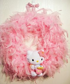 Hello Kitty Feather Boa Wreath I could make this so easy!