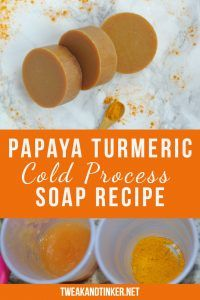 diy soap This cold process soap recipe uses papaya, turmeric and essential oils to add interest. Adding fresh ingredients is a great technique to spice up your handmade soap making. Turmeric Spice, Turmeric Soap, Turmeric Recipes, Papaya Soap, Melt And Pour, Piel Natural, Soap Making Supplies, Homemade Soap Recipes, Homemade Soap For Sale